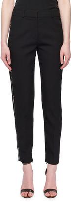 Victoria Victoria Beckham Flat-Fly Slim Tapered-Leg Wool-Blend Pants w/ Beaded Tux Stripe