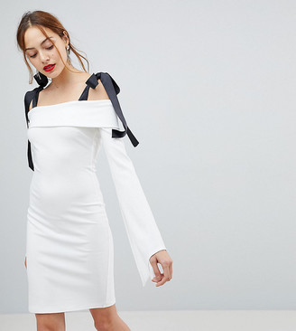 John Zack Tall Bardot Mini Dress With Tie Shoulder Detail