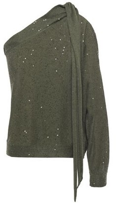 Brunello Cucinelli One-shoulder Sequin-embellished Linen And Silk-blend Top