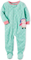 Carter's 1-Pc. Heart-Print Owl Footed Fleece Pajamas, Baby Girls (0-24 months)