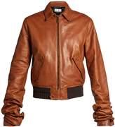 Saint Laurent Extra long-sleeves leather bomber jacket