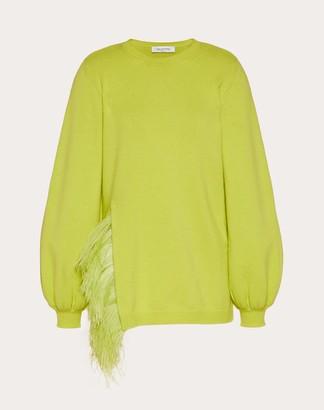 Valentino Embroidered Cashmere Wool Sweater Women Black Virgin Wool 70%, Elastane 30% L
