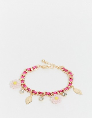 ASOS DESIGN chain bracelet with pink flower and leaf charms in gold tone