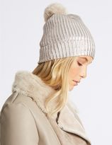 Marks and Spencer Foil Knit Pom Winter Hat