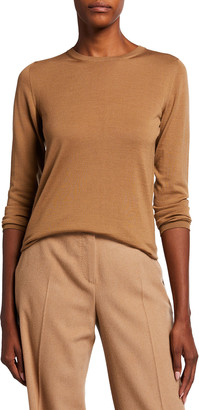 Max Mara Rib Trim Long-Sleeve Wool Sweater