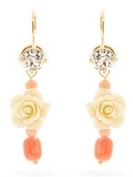 Prada Rose And Bead Drop Earrings - Coral