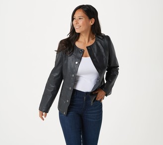 Isaac Mizrahi Live! Leather Jacket with Floral Printed Lining