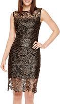 Bisou Bisou Cap-Sleeve Metallic Lace Sheath Dress