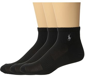 Polo Ralph Lauren 3-Pack Tech Athletic Quarter with Polo Player Embroidery (Black) Men's Quarter Length Socks Shoes