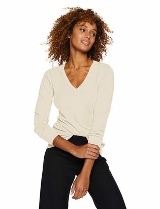 Lark & Ro Amazon Brand Women's Long Sleeve V-Neck Sweater white Medium