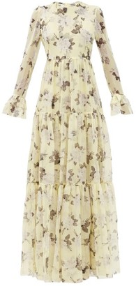 Erdem Alvaro Rosemont Wallpaper-print Silk Gown - Yellow Print