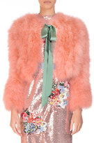 Erdem Marabou Feather Chubby Jacket with Satin Bow, Pink