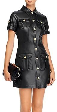 Aqua Button-Front Faux-Leather Mini Dress - 100% Exclusive