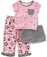 Sweet Heart Rose Little/Big Girls 4-12 Heart-Print Top, Panda Pants, & Striped Shorts Pajama Set