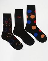 Pringle Lanark Polka Dot Socks In 3 Pack Black