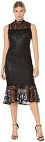 Calvin Klein Mock Neck Embroidered Lace Dress (Black) Women's Dress