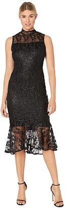 Calvin Klein Mock Neck Embroidered Lace Dress (Black) Women's Dress