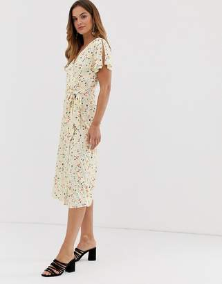 French Connection Roseau meadow midi dress-White