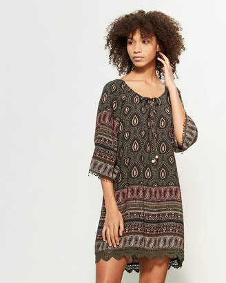 Apricot Printed Bell Sleeve Shift Dress
