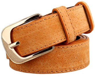 Lukis Women Leather Belts Ladies Plain Buckle Casual Belt For Pants Brown