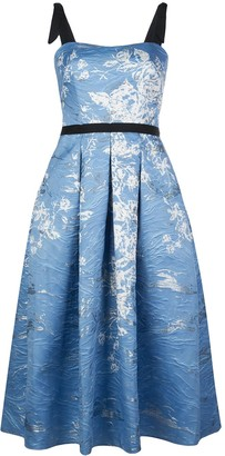 Marchesa Floral Print Pleated Dress