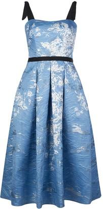 Marchesa floral print pleated dress