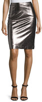 Milly Metallic Leather Pencil Skirt, Gunmetal