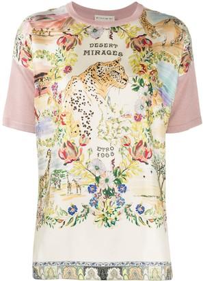 Etro desert mirages print panelled T-shirt