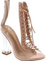 Liliana Clear Translucent Transparent Lace Up Peep Toe Ankle Bootie W Perspex Block Heel,Nude,6