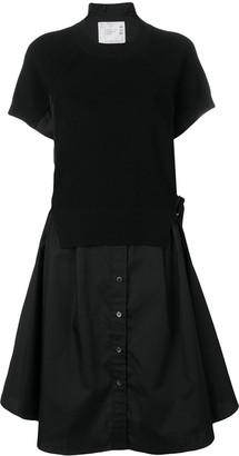 Sacai Knit-Panel Shirt Dress