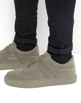 Asos Lace Up Sneakers In Gray Faux Suede With Perforated Strap
