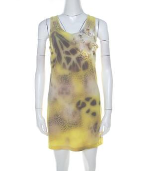 Blumarine Yellow Printed Applique Detail Short Dress S