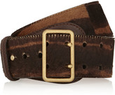 Alexander McQueen Striped calf hair and leather waist belt