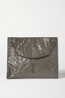 Saint Laurent Niki Large Quilted Crinkled Glossed-leather Tote - Gray