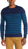 Original Penguin Men's Long Sleeve True Indigo Crew with Placed Pima Cotton Stripes
