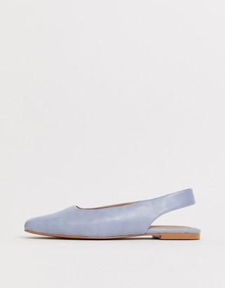 Asos Design DESIGN Lorraine slingback ballet flats in blue