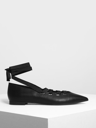 Charles & Keith Laced Up Pointed Flats
