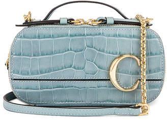 Chloé Mini C Embossed Croc Vanity Bag in Faded Blue | FWRD
