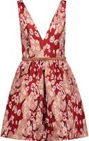 Marchesa Embellished Metallic Leopard-Print Brocade Mini Dress