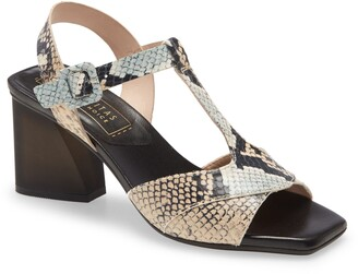 Hispanitas Preston Snakeskin Print Leather T-Strap Sandal