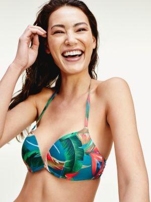 Tommy Hilfiger Tropical Palm Print Push-Up Bikini Top