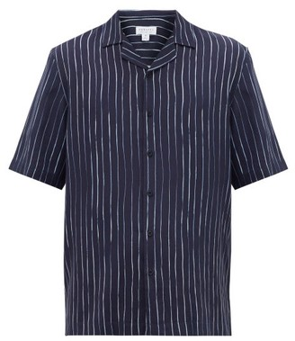 Sunspel Short-sleeved Pinstripe Lyocell-twill Shirt - Mens - Navy White