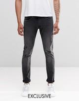 Uk Exclusive Lee Luke Skinny Jeans Stretch Distressed Black Wash