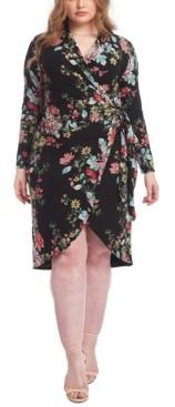 Rachel Roy Trendy Plus Size Floral-Print Knot Front Jersey Dress