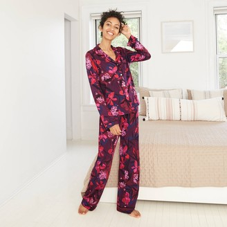 Stars Above Women's Floral Print Beautifully Soft Long Sleeve Notch Collar Top and Pants Pajama Set - Stars AboveTM