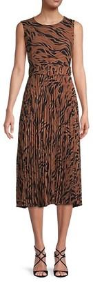 T Tahari Pleated Print Dress
