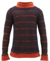 Eckhaus Latta Striped Mock-neck Sweater - Mens - Navy Multi