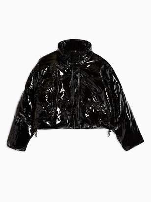 Topshop Petite Vinyl Padded Jacket - Black