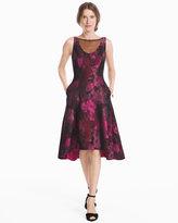 White House Black Market Mesh Neck Jacquard Fit-and-Flare Dress