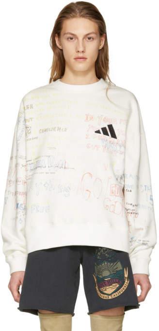 Yeezy White Writing Crewneck Sweatshirt